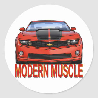 RED_FRONT_CAMARO.png Classic Round Sticker