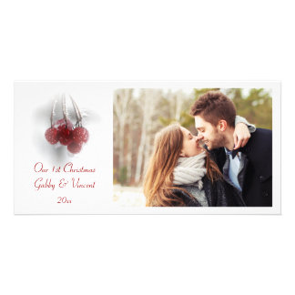 Red Frosty Berries First Christmas Together Card