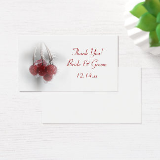 Red Frosty Berries Winter Wedding Favor Tags