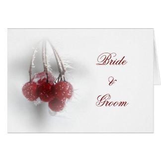 Red Frosty Berries Winter Wedding Invitation