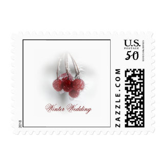 Red Frosty Berries Winter Wedding Postage