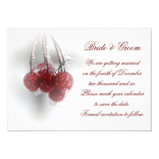 Red Frosty Berries Winter Wedding Save the Date Card