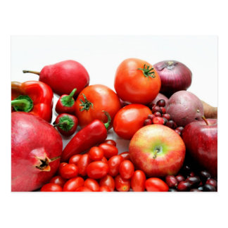 Red Fruit And Vegetables Postcard