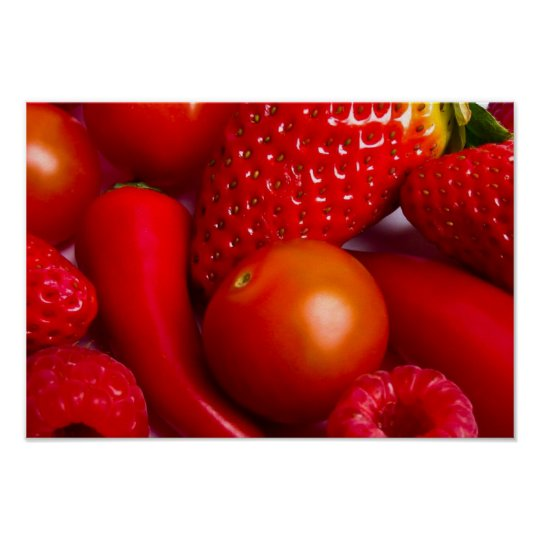 Red Fruit and Vegetables Print/Poster Poster