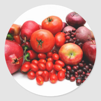 Red Fruit And Vegetables Round Sticker