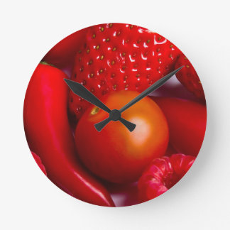 Red Fruit/Vegetables  Wall Clock