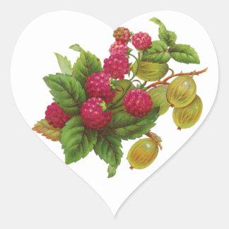 RED FRUITS ,RASPBERRY PRESERVE / RASPBERRIES HEART STICKER