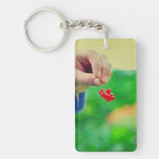 Red fruits rectangular acrylic key chain