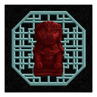 Red Fu Dog Black Poster print