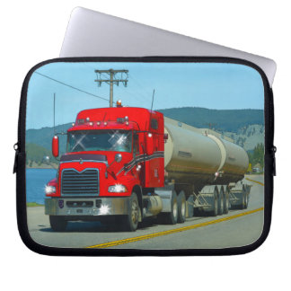 Red Fuel Tanker Truck & Lake Scenic Driving Art Laptop Sleeve
