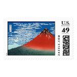 Red Fuji 葛飾北斎 Hokusai Fine Art Postage Stamps