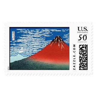 Red Fuji Hokusai Japanese Fine Art Postage