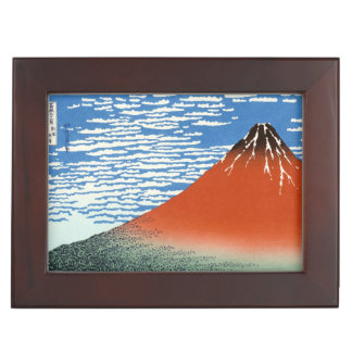Red Fuji southern wind clear morning Hokusai art Memory Box