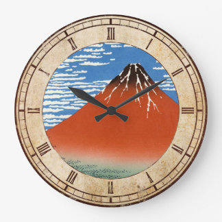 Red Fuji southern wind clear morning Hokusai Wall Clock