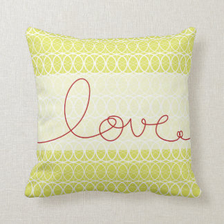 Red Fun Loopy Love Writing Circles Lime Green Pillow