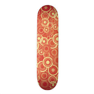 Red Funky Circles Pattern Skate Boards