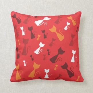 Red Funky Kittens American MoJo Pillow