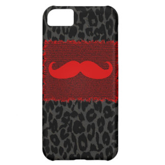 Red Funny Mustache and Leopard Print iPhone 5C Case