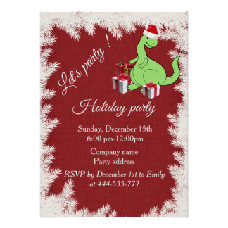 Red Funny Santa dinosaur Company holiday party Card