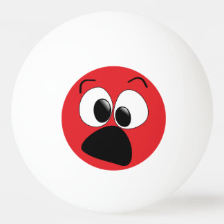 Red Funny Silly Face Ping Pong Ball