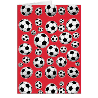 Red Funny Soccer Ball Pattern Card