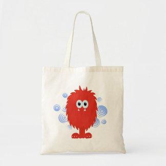 Red Furry Monster & Blue Swirls Bag