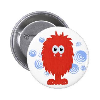 Red Furry Monster & Blue Swirls Button
