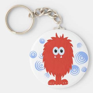 Red Furry Monster & Blue Swirls Keychain