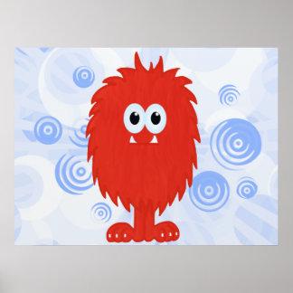 Red Furry Monster & Blue Swirls Print