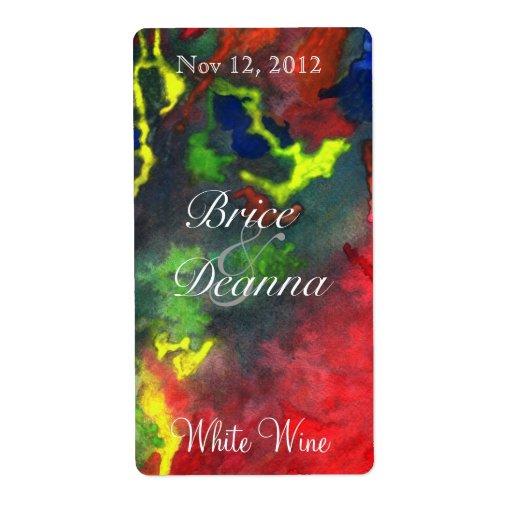 Red Fusion 2 Wedding Wine Label