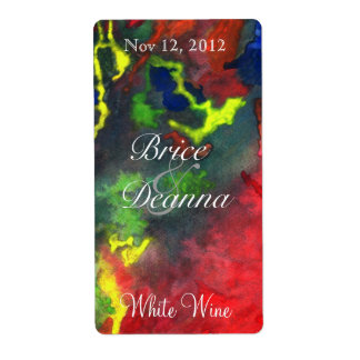 Red Fusion 2 Wedding Wine Label Shipping Label