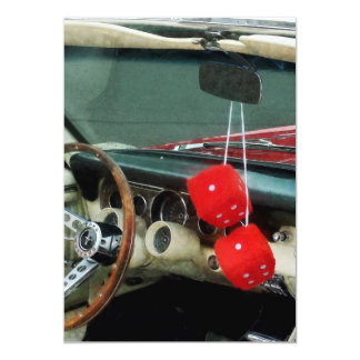 Red Fuzzy Dice in Convertible Card