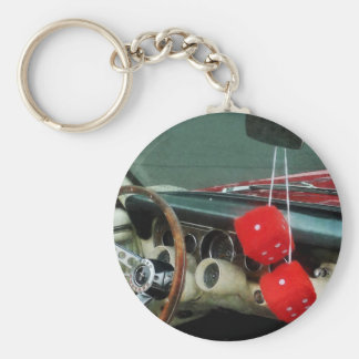 Red Fuzzy Dice in Convertible Keychain