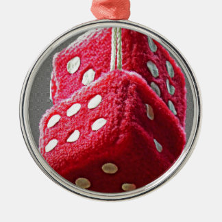 Red Fuzzy Dice Metal Ornament
