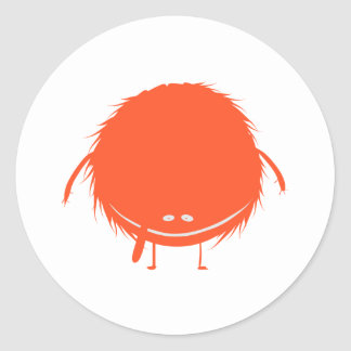 red fuzzy duzzle monster classic round sticker