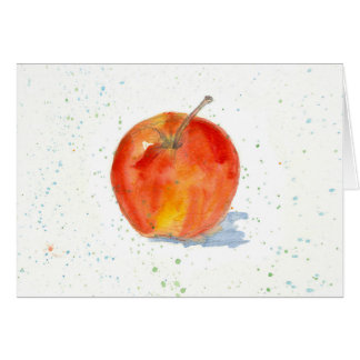 Red Gala Apple Fruit Watercolor Painting Art Blank Card