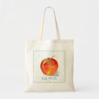 Red Gala Apple Fruit Watercolor Painting Eat Well Tote Bag