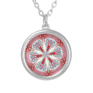red galaxy round pendant necklace
