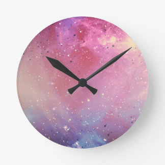 Red Galaxy Round Clock