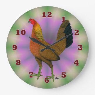 Red Game Hen Large Clock