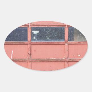 Red Garage Door Oval Sticker