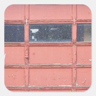 Red Garage Door Square Sticker