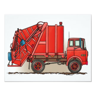 Red Garbage Truck 4.25x5.5 Paper Invitation Card