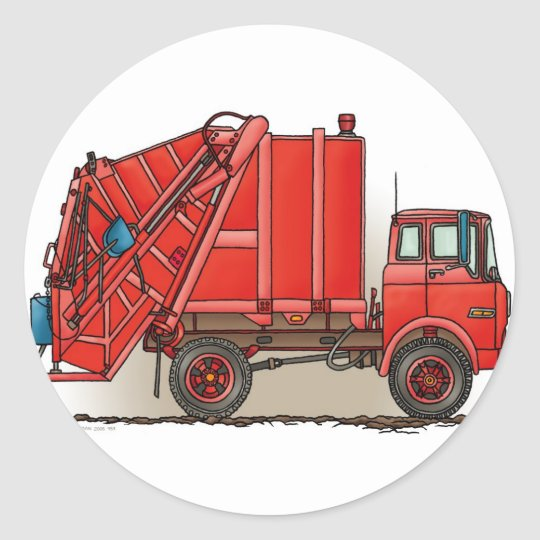 Red Garbage Truck Classic Round Sticker
