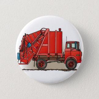 Red Garbage Truck Pinback Button