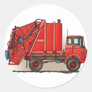 Red Garbage Truck Round Stickers