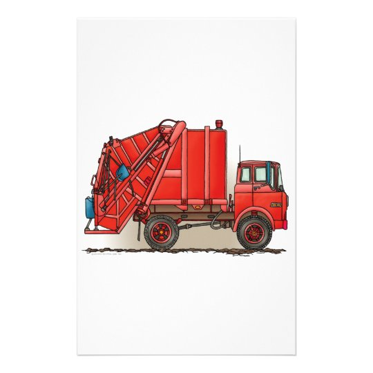 Red Garbage Truck Stationery