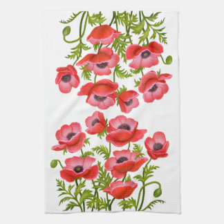 Red Garden Poppy Flowers American MoJo Kitchen Tow Hand Towels