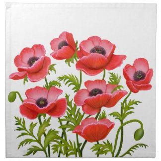 Red Garden Poppy Flowers American MoJo Napkin
