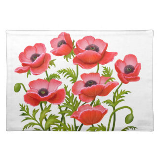 Red Garden Poppy Flowers American MoJo Placemat